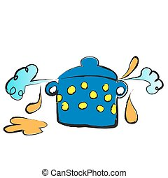 cartoon cooking pot, vector