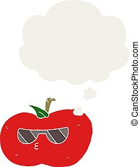 cartoon cool apple and thought bubble in retro style