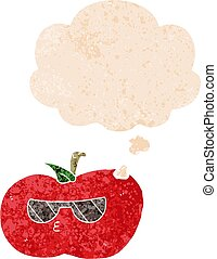 cartoon cool apple and thought bubble in retro textured style