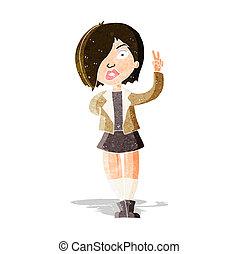 cartoon cool girl giving peace sign