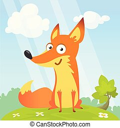 Cartoon cool little fox sitting on a meadow