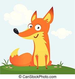 Cartoon cool little fox sitting