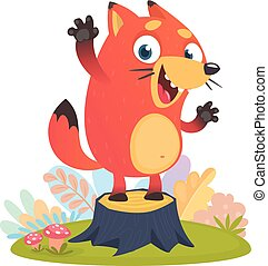 Cartoon cool little fox standing and waving on tree stump