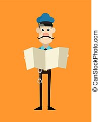 Cartoon Cop Policeman - Holding a Folded Paper Banner