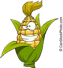 Cartoon corn - Corn on a white background, vector...