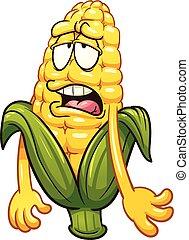 Cartoon corn - Tired cartoon corn. Vector clip art...