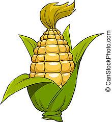Cartoon corn - Corn on a white background, vector...