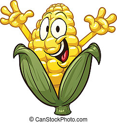 Cartoon corn - Happy cartoon corn. Vector clip art ...