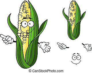 Cartoon corn vegetable - Colorful smiling fresh vegetable in...