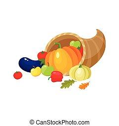 Cartoon cornucopia, horn of abundance, harvest