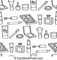 Cartoon Cosmetics Seamless Tile - Monochrome seamless...