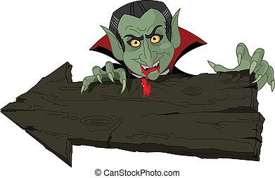 Dracula over Halloween arrow