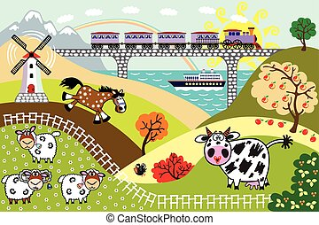 cartoon countryside  landscape