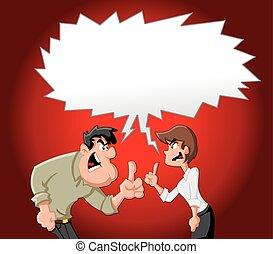 Cartoon couple fighting