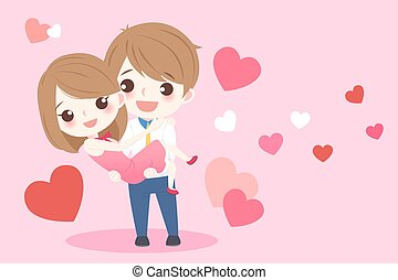 cartoon couple holding together