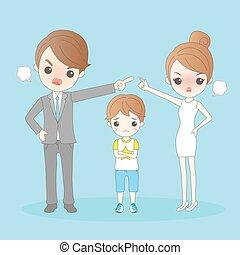 Cartoon couple in a quarrel