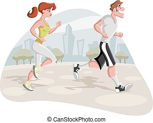 Cartoon couple jogging in the city