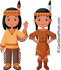 Cartoon couple native Indian American with traditional...