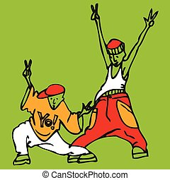 Cartoon couple of young rappers in rapper clothes dancing and gesturing. Vector illustration.