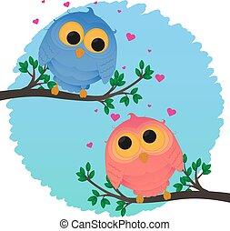 Cartoon couple owl girl and boy love