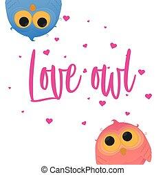 Cartoon couple owl girl and boy