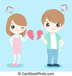cartoon couple quarrel