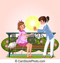 Cartoon couple sitting on bench in park