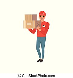 Cartoon courier character holding two cardboard boxes in hands. Cheerful young man in red cap, sweater and blue jeans. Worker of delivering service. Flat vector design