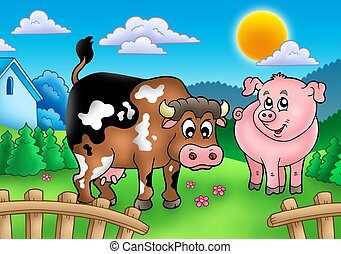 Cartoon cow and pig behind fence - color illustration.