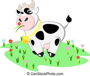 Cartoon cow and rural meadow with green grass.