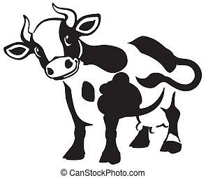 cartoon cow black and white