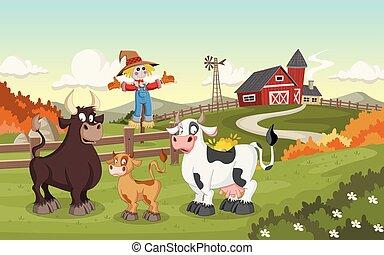 Cartoon cow, calf and bull.