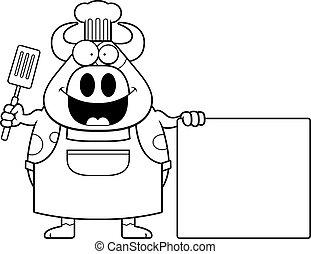Cartoon Cow Chef Sign