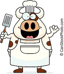 Cartoon Cow Chef Waving