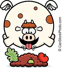 Cartoon Cow Eating - A cartoon illustration of a cow eating.
