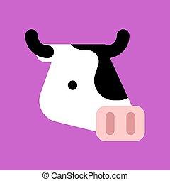 Cartoon cow face isolated. Animal beef head vector illustration