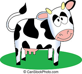 Cartoon Cow - Funny cartoon cow standing on a patch of grass