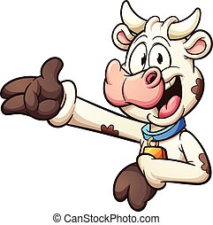 Cartoon cow - Happy cartoon cow. Vector clip art ...