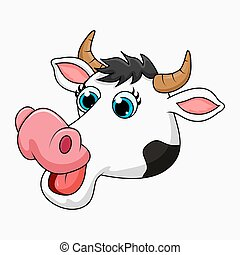 cartoon cow head design isolated on white background