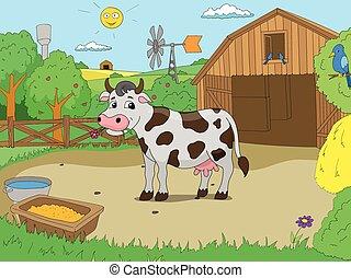 Cartoon cow in farm color book children vector illustration