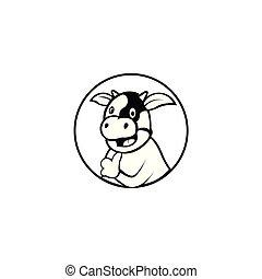 Fat cow cartoon icon, vector illustration