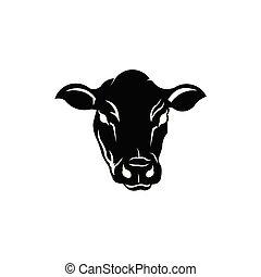 t cow cartoon icon, vector illustration