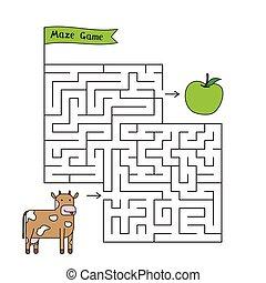 Cartoon Cow Maze Game
