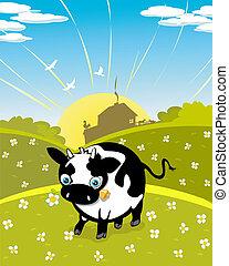Cartoon cow on the meadow