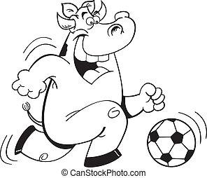 Cartoon Cow Playing Soccer