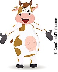 cartoon cow standing showing pose