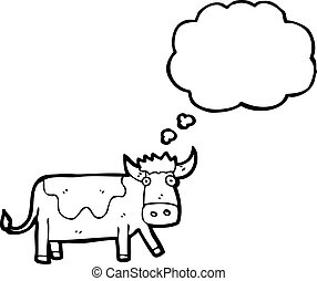 cartoon cow with thought bubble