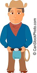 Cartoon cowboy character on white background. Vector