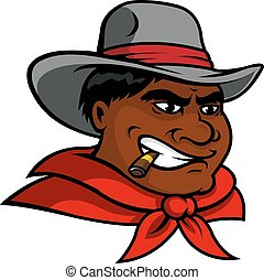 Cartoon cowboy character smoking cigar