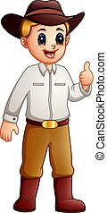 Cartoon cowboy giving a thumbs up and smiling